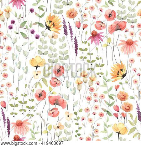 Floral seamless pattern with colorful wildflowers and abstract green plants. Watercolor print isolated on white background.