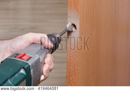 Drill Hole For Latch On New Inner Door.