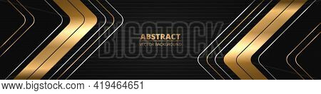 Black Luxury Abstract Wide Horizontal Banner With Gold And Silver Lines, Arrows And Angles. Dark Mod