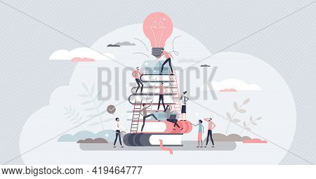 Building Business With Corporate Knowledge And Teamwork Tiny Person Concept. Company Growth Gain And
