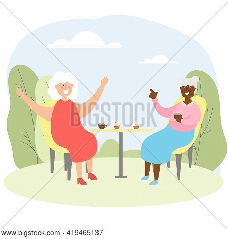 Elderly People Chat In A Cafe. Grandmothers Of Different Nations Spend Leisure Time Together. Vector