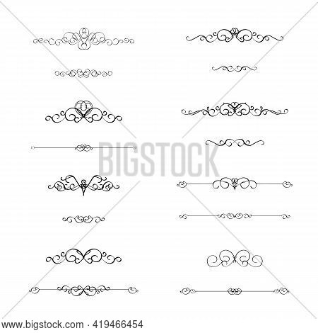 Calligraphic Border Divider Frame Design Element In Classic Vintage Calligraphy Style For Wedding Or