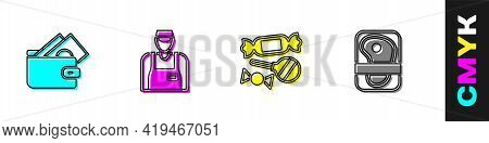 Set Wallet With Money, Seller, Candy And Meat Packaging Steak Icon. Vector