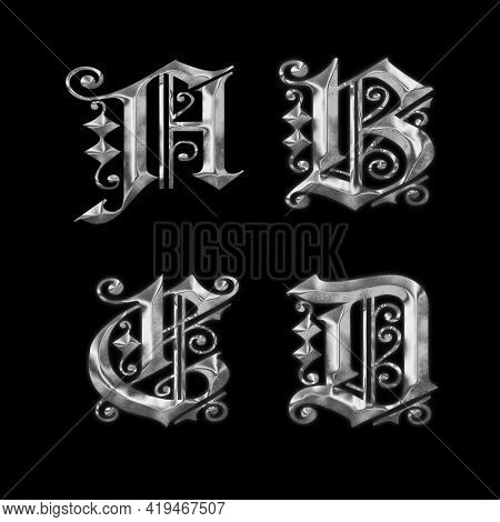 3D rendering of old Gothic metal capital letter alphabet - letters A-D