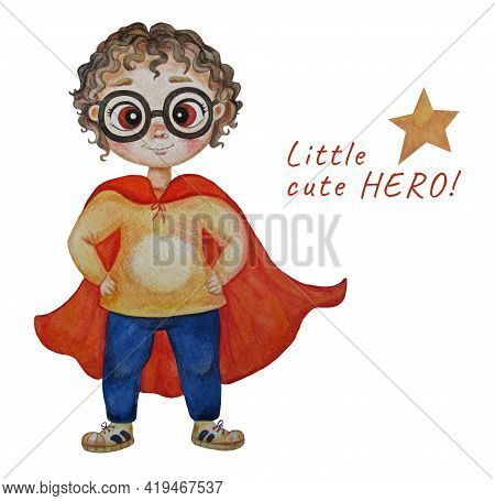 Bright Cute Fat Super Boy With Glasses And Curly Hair In A Super Hero Costume In A Long Red Cloak. S