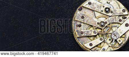Web Banner Of Vintage Business Golden Clockwork Mechanism With Gears, Time Management Concept