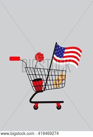 Illustration Of A Supermarket Basket With The American Flag, A Bread And A Rose In It To Symbolize I