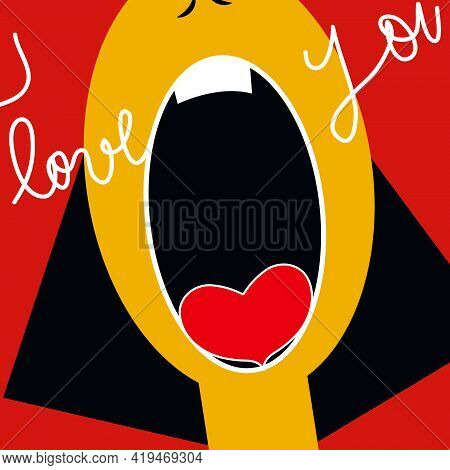 Illustration Of A Woman Screaming That She Is In Love, On A Red Background