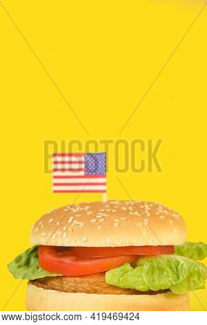 Hamburger Day In The United States Of America.burger Banner. Memorial Day Bbq. Hamburger With Decora