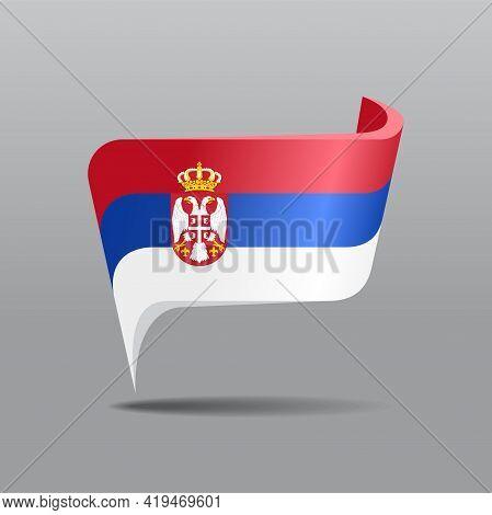 Serbian Flag Map Pointer Layout. Vector Illustration.
