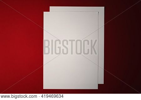 Blank A4 Paper, White On Red Background As Office Stationery Flatlay, Luxury Branding Flat Lay And B