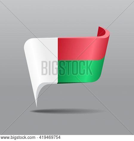 Madagascar Flag Map Pointer Layout. Vector Illustration.