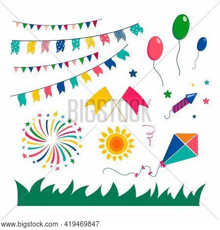 Set For Festa Janin. Set Of Design Elements For The Brazilian National Festival. Fireworks, Balloons