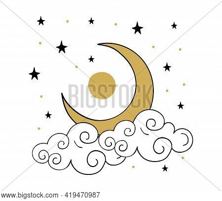 Gold Crescent Moon With Cloud Icon. Simple Heavenly Line Drawing, Boho Tattoo, Symbol For Astrology,
