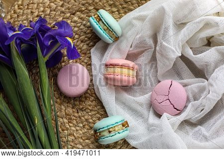Colorful Delicious Homemade Traditional French Macarons - Elegant French Dessert. Natural Fruit And