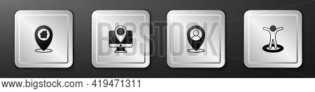 Set Location With House, Monitor Location Marker, Person And Icon. Silver Square Button. Vector