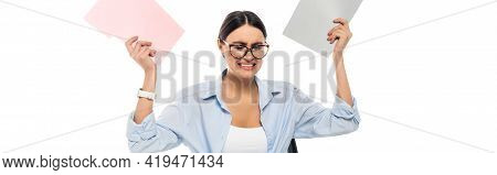 Overworked Businesswoman With Closed Eyes Holding Folders Isolated On White, Banner.