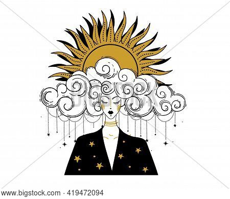 Boho Line Drawing, Woman With Cloudy Hair And Sun In Her Hair. Astrology Concept, Tarot, Prediction.