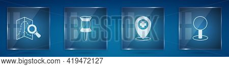 Set Search Location, Push Pin, Location With Cross Hospital And . Square Glass Panels. Vector