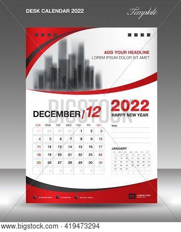 Desk Calendar 2022 Template, December Month Design, Wall Calendar Design, Calendar 2022 Template Mod