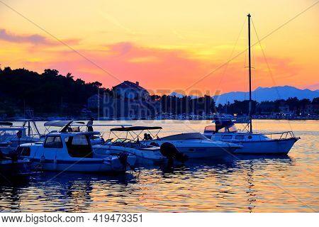 Makarska Sunset In Croatia. Resort Town In Dalmatia. Makarska Riviera.