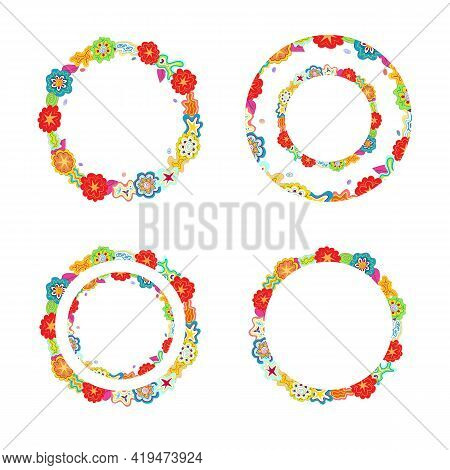 Hand-drawn Multicolour Doodle Circular Outlines, Frames Made Of Flower, Star, Cloud Shapes. Kid Scri