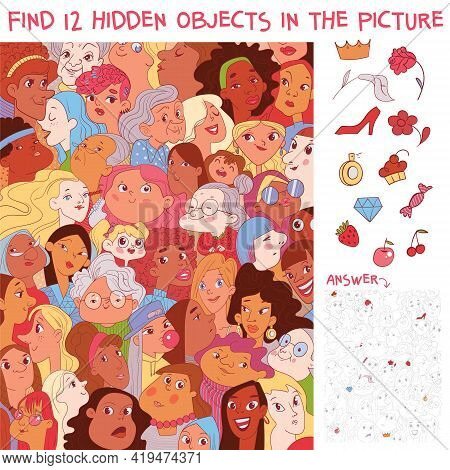 Variety Women. Diverse Female Faces. International Women Day. Find 12 Hidden Objects In The Picture.
