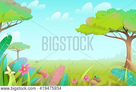 Savanna Wild Nature Fairy Tale Forest With Trees And Grass Lawn, Summer Tropical Empty Background Fo