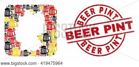 German Map Collage In Germany Flag Official Colors - Red, Yellow, Black, And Unclean Beer Pint Red R