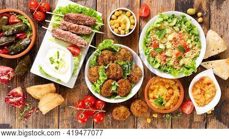assorted of lebanese food selection