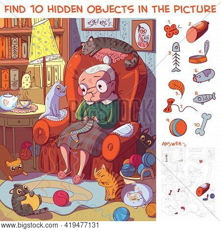 Find 10 Hidden Objects In The Picture. Grandmother Sitting On The Armchair And Knits Socks Surrounde