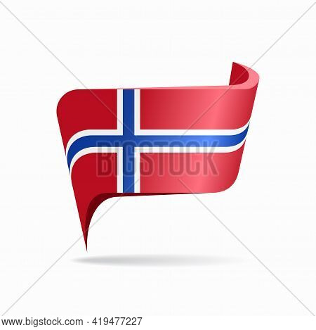 Norwegian Flag Map Pointer Layout. Vector Illustration.