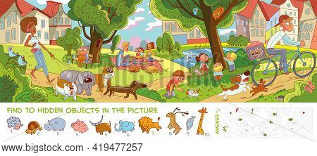 Rest In City Park. Panorama. Find 10 Hidden Objects In The Picture. Puzzle Hidden Items. Funny Carto