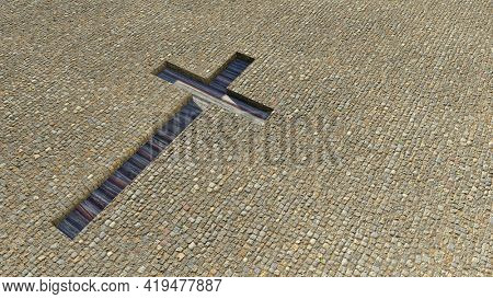Concept or conceptual wooden logg cross on a stone pavement background. 3d illustration metaphor for God, Christ, Christianity, religious, faith, holy, spiritual, Jesus, belief or resurection