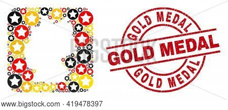 Germany Map Collage In Germany Flag Official Colors - Red, Yellow, Black, And Scratched Gold Medal R