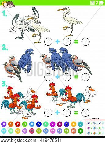 Cartoon Illustration Of Educational Mathematical Addition Puzzle Task With Birds Animal Characters