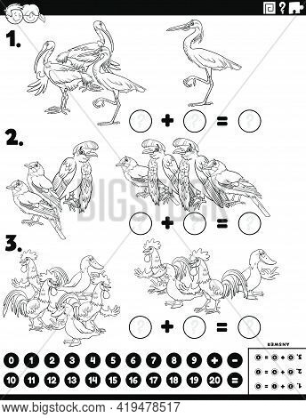 Black And White Cartoon Illustration Of Educational Mathematical Addition Puzzle Task With Comic Bir