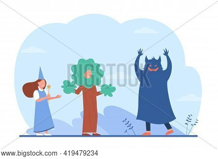 Children Acting Out Fairytale. Cartoon Child In Monster Costume Scaring Kids Dressed As Wizard And T
