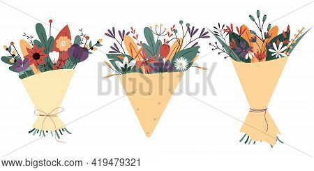 Collection of flower bouquets isolated on a white background. Set of summer blooming flowers in envelope.Colorful vector illustration in flat style