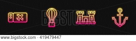 Set Line Sand Castle, Airline Ticket, Hot Air Balloon And Anchor. Glowing Neon Icon. Vector