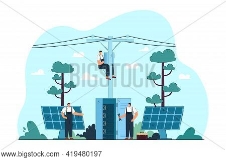 Electricians Repairing Electrical And Solar Panels On Streets. Flat Vector Illustration. Masters Fix