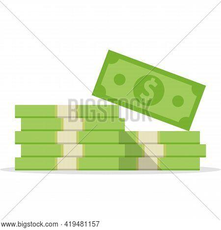 Stack Of Money. Dollars Banknotes. Cash Money. Vector Illustration.