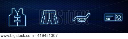 Set Line Sunbed And Umbrella, Life Jacket, Short Or Pants And Airline Ticket. Glowing Neon Icon On B