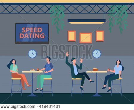 Couples In Cafe On Speed Dating Program. Cartoon Strangers Chatting, Clock With Timer Flat Vector Il