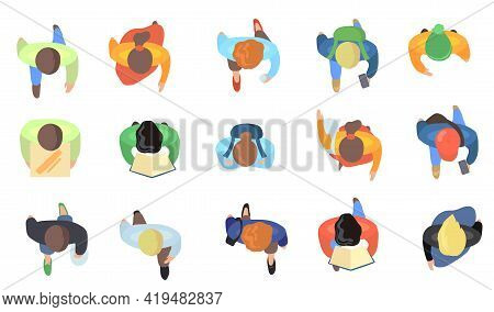 Top View Of People Walking Vector Illustrations Set. Crowd Of Cartoon Men And Women With Books, Phon