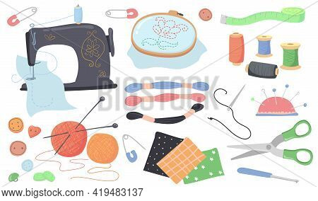 Sewing Tools Vector Illustrations Set. Collection Of Knitting Supplies, Threads, Scissors, Needles,