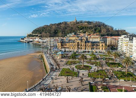 Aerial view of the Alderdi-Eder Park, the City Hall and the castle on Urgull hill in San Sebastian, Spain