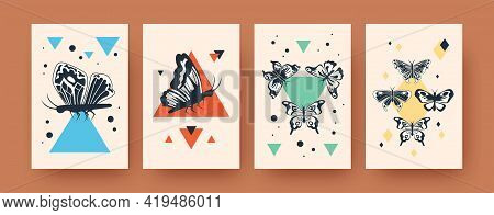 Bright Collection Of Scandinavian Art Posters With Butterflies. Stylish Leaflets With Black Insects