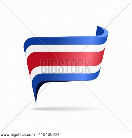 Costa Rican Flag Map Pointer Layout. Vector Illustration.