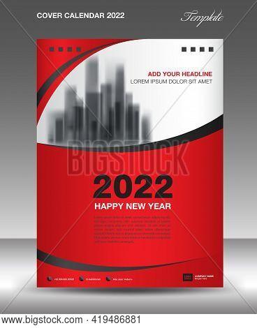 Cover Desk Calendar 2022-red Wave Background